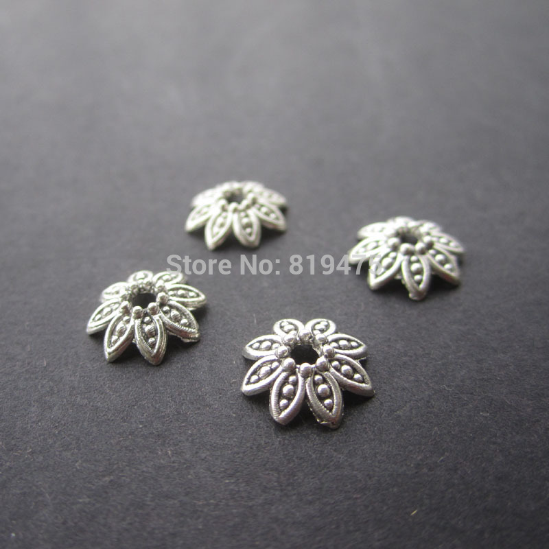 50pcs/lot Zinc Alloy Antique Silver & Bronze color Bead Caps Fit 10mm BeadsJewelry Findings Making End Caps free shipping 50pcs lot european zinc alloy antique silver crimp end bead for bracelet making ec6