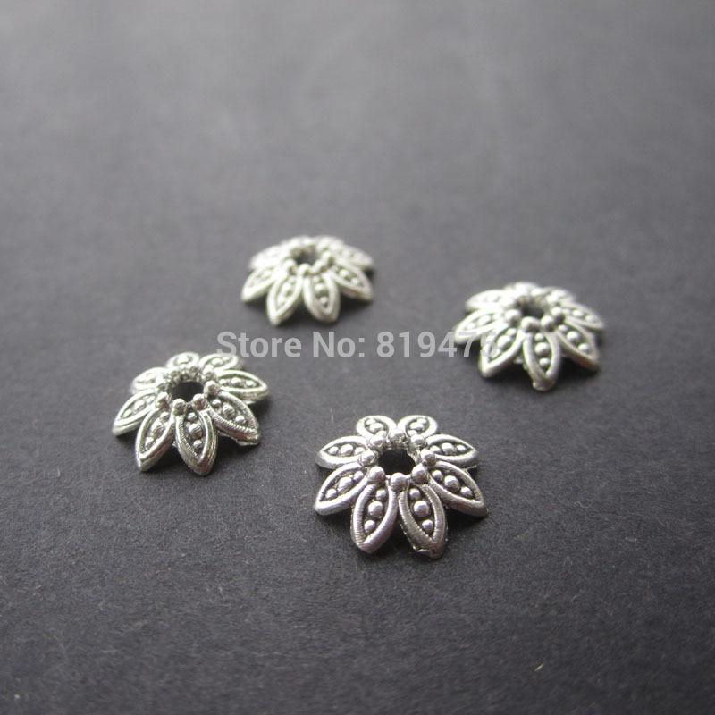 купить 50pcs/lot Zinc Alloy Antique Silver & Bronze color Bead Caps Fit 10mm BeadsJewelry Findings Making End Caps по цене 74.12 рублей