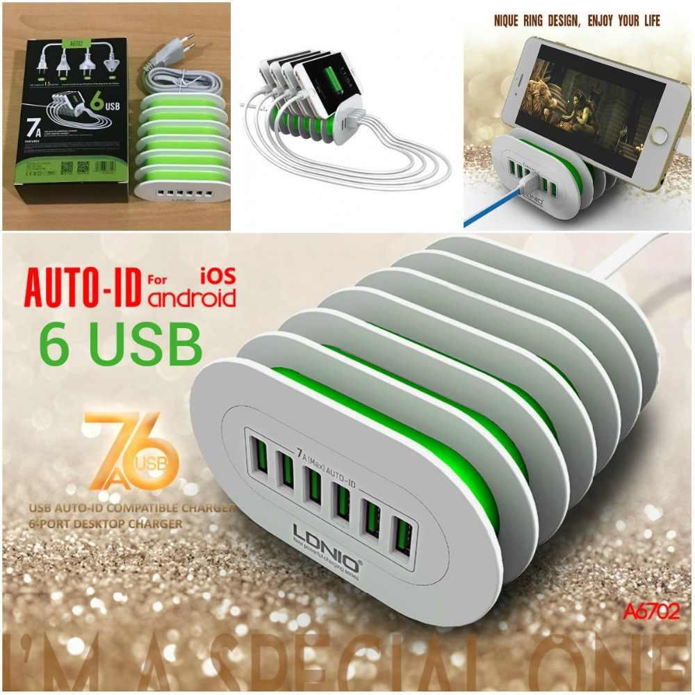 LDNIO A6702 6 منافذ USB متعددة محطة الشحن الذكية التكيف 7A سطح المكتب شاحن عالمي