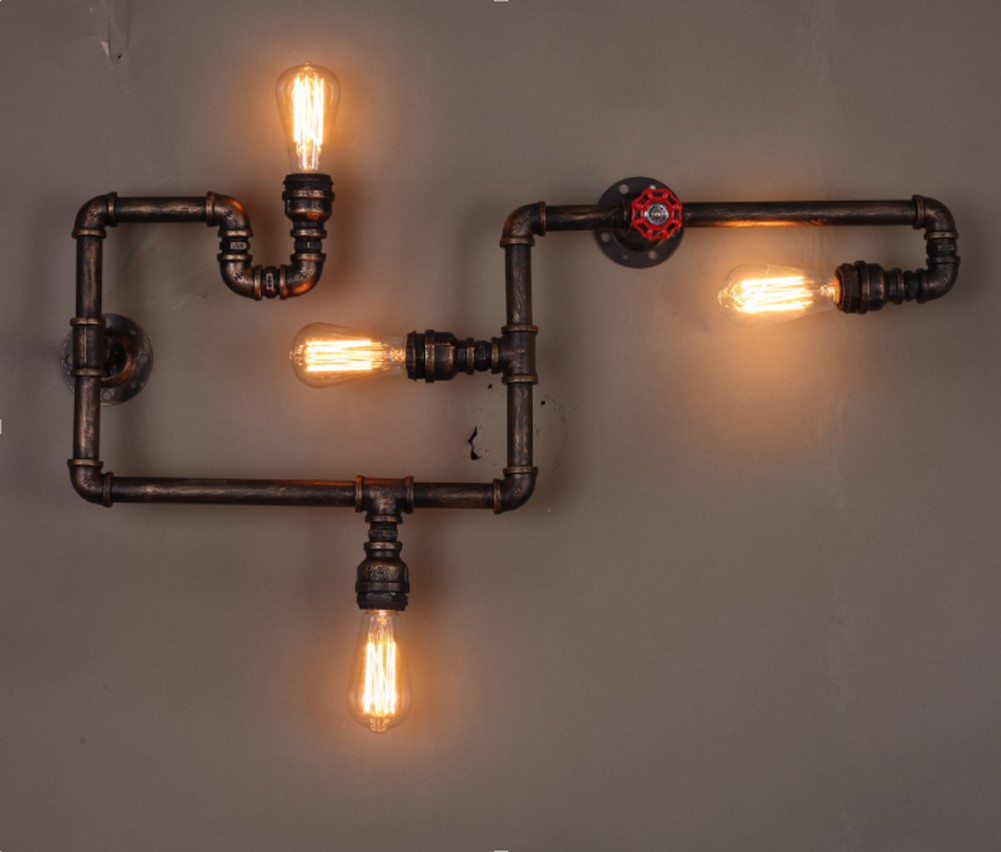 Europe Industrial lighting water Pipe Rust Color Iron Finished edison style Retro Vintage E27 Fitting Wall Lamp pakistan on the brink the future of pakistan afghanistan and the west
