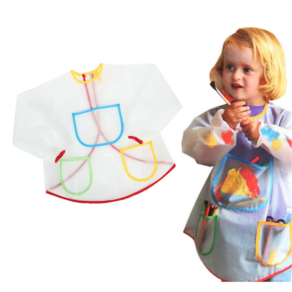 New Cute Waterproof Smock Apron Bibs for Children Kids Painting Eating Cooking Long-sleeve Anti-dust Coats Crafts Costume