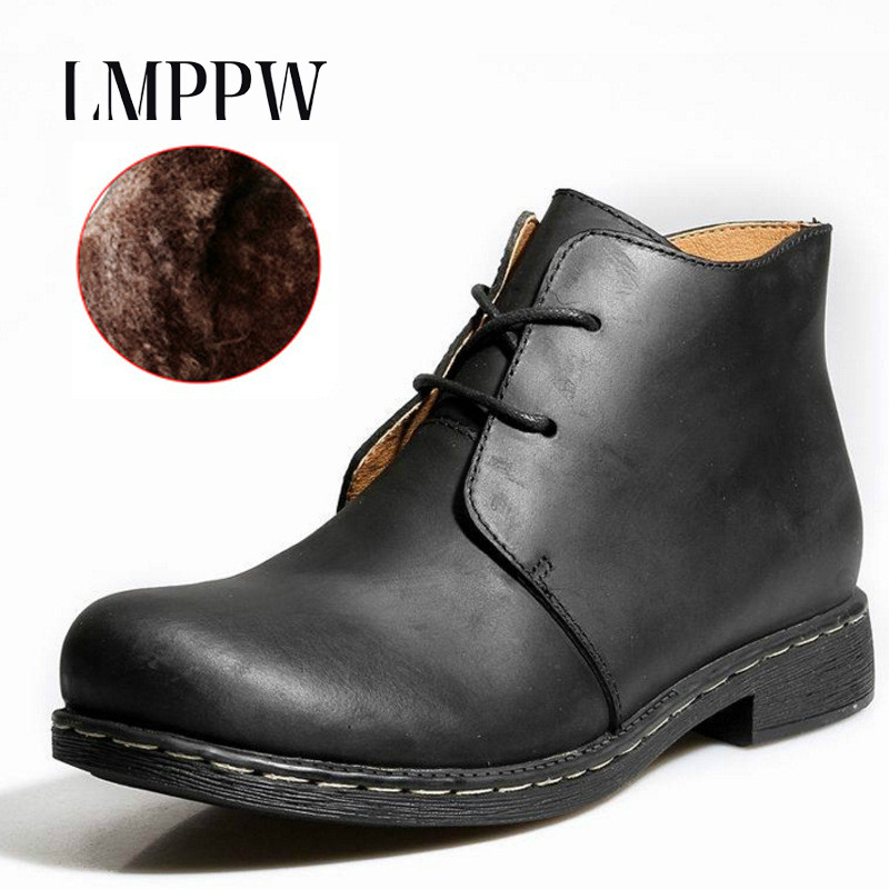 2017 New Autumn Winter Men Martin Boots Genuine Leather Ankle Boots Fashion Plush Warm Casual Boots Black Brown Lace-up Shoes 2A 2016 new genuine leather ankle boots men flats shoes lace up casual outdoor shoes men oxford shoes autumn boots