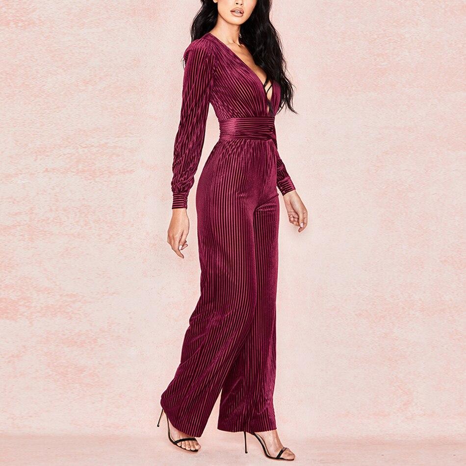 V Casual Salopette Nouvelles Longues Mode Femmes Profond Dames Col Sexy 2019 Manches De Velours Rouge Longue À Vin 0BSwnBTq