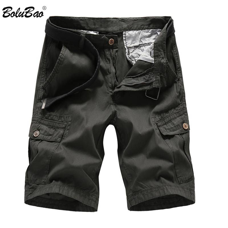 BOLUBAO 2018 New Men Cargo Shorts Casual Loose Short Pants Solid Military Summer Style Knee Length Shorts Men