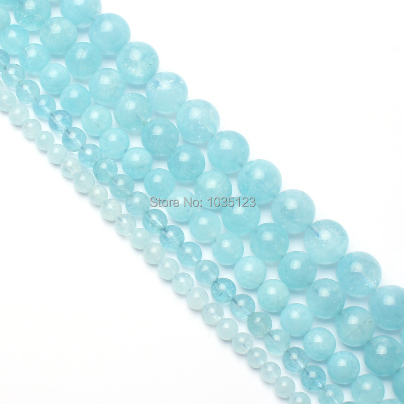 High Quality Natural Light Blue Crystal Aquamarines Stone Round 6/8/10/12/14mm Gems Loose Beads 15 Inch  Jewelry Accessory wj101