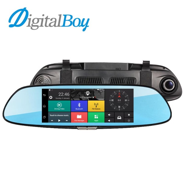 "DIGITALBOY 7"" Car Dvr WIFI Rearview Mirror Car Video Recorder Bluetooth Dual Lens Android 1080P Camera Dash Cam GPS Navigation"
