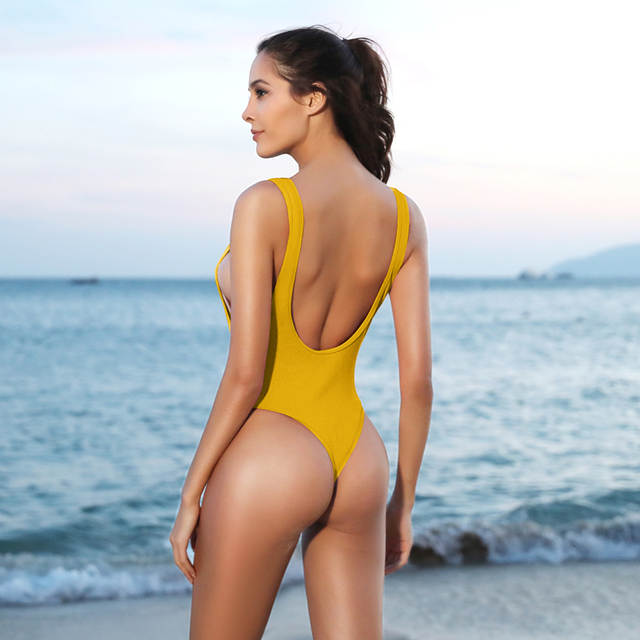US $18 14 |SHEKINI Women's Thong Swimsuits Retro V Neck Backless High Cut  One Piece Monokini Swimwear-in Body Suits from Sports & Entertainment on