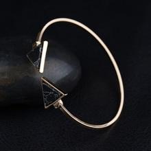 Punk Trendy Triangle  Bracelet Faux Marbleized Stone Cuff