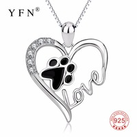 New Arrival Real 925 Sterling Silver Love Heart Dog Paw Print Pendants Necklces Animal Claw Crystal Fashion Jewelry For Women