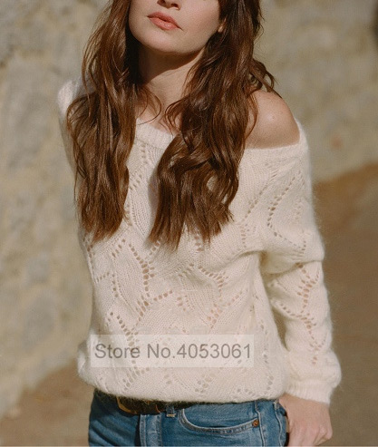 Ladies Mohair Sweater Soft Sweet Top 2019ss Women Long Sleeve Sweater Pullover