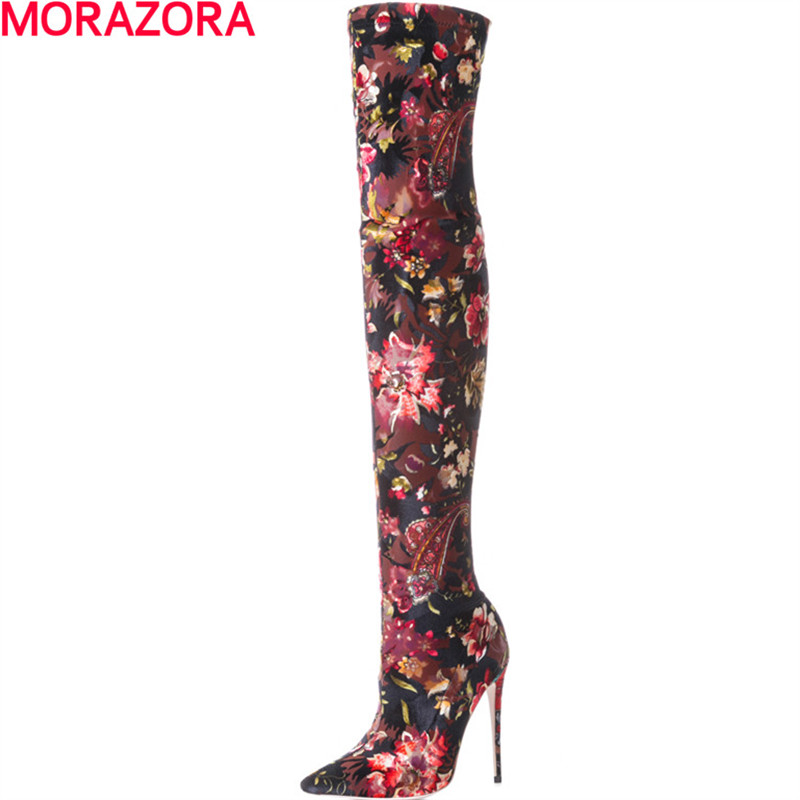MORAZORA popular the knee boots fashion flower new arrive autumn winter high heels shoes boots female big size 34-43