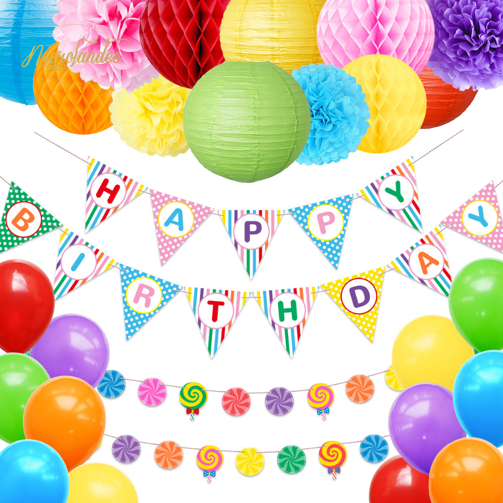 NICROLANDEE 26 pcs/set Happy Birthday Party Baby Boy Girl Child DIY Decoration Decor Home New Balloon  Lantern Banner Set