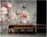 Custom 3d Mural Wallpaper European Rose Vintage Floral Fresco For Living Room Bedroom Dining Room Backdrop