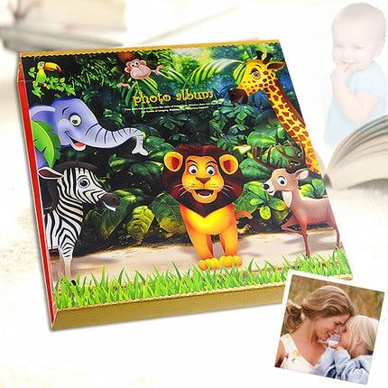 600 ピースベビーメモリーフォト挿入画像子供ジャーナル写真撮影本保持 5 6 7 インチ写真かわいいライオン動物カバー  グループ上の ホーム&ガーデン からの フォトアルバム の中 1