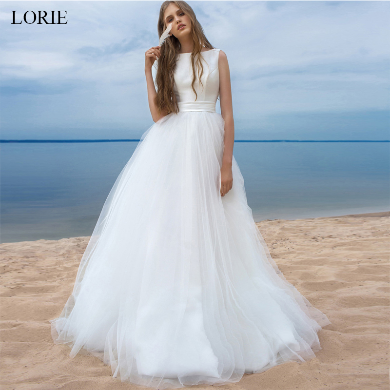 LORIE Beach Wedding Dresses 2019 Vestido Noiva Praia Simple White Tulle Casamento Sashes Bridal Gown Custom