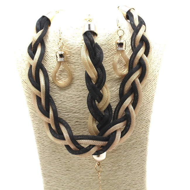 2016 New Bohemian Style Punk Colourful Simple Metal braid Twist Chain necklaces casual jewelry sets