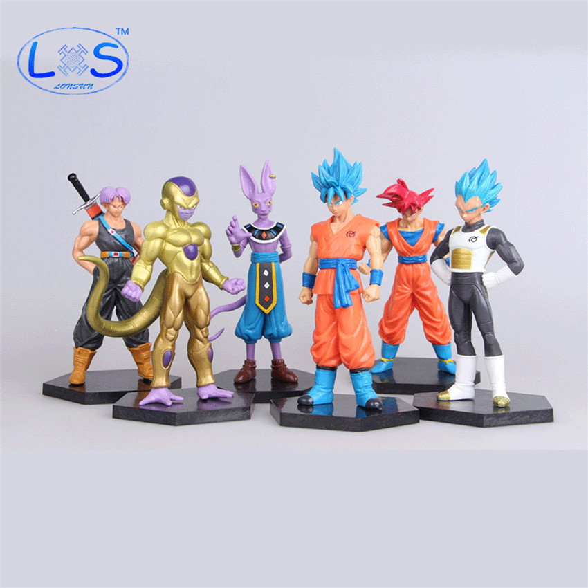 (LONSUN)6pcs/set Anime Dragon Ball Z Super Saiyan Goku Son Vegeta Frieza PVC Action Figure Model Collection Toy Gift dragon ball z action figures super saiyan son goku grey color anime dbz collectible model toys 350mm dragon ball gt toy