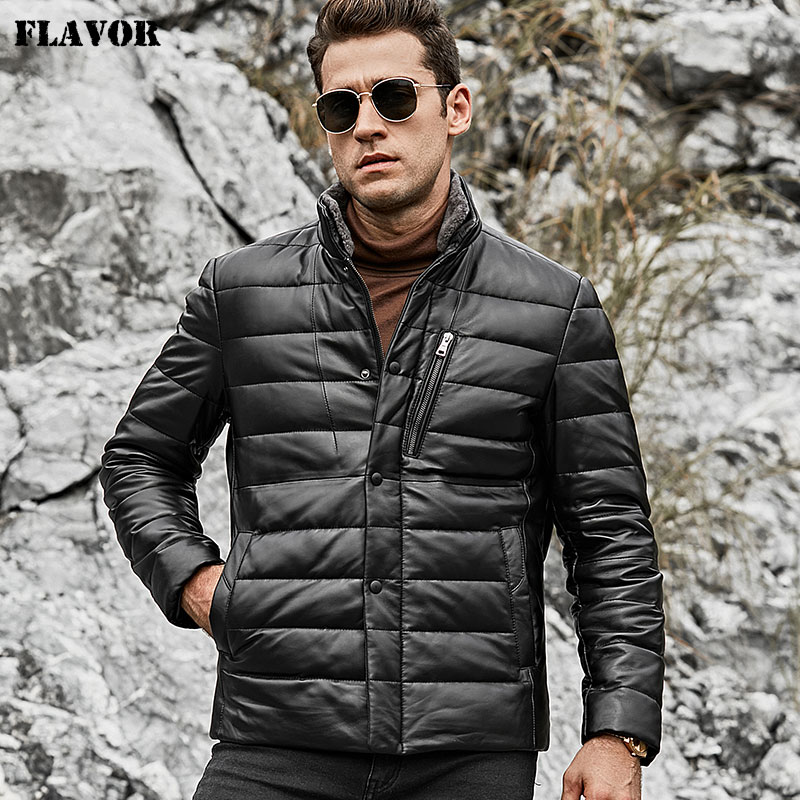 FLAVOR Men's Lambskin Genuine Leather Down Jacket Men Jacket With Standing Sheep Fur Collar White Duck Down Coat