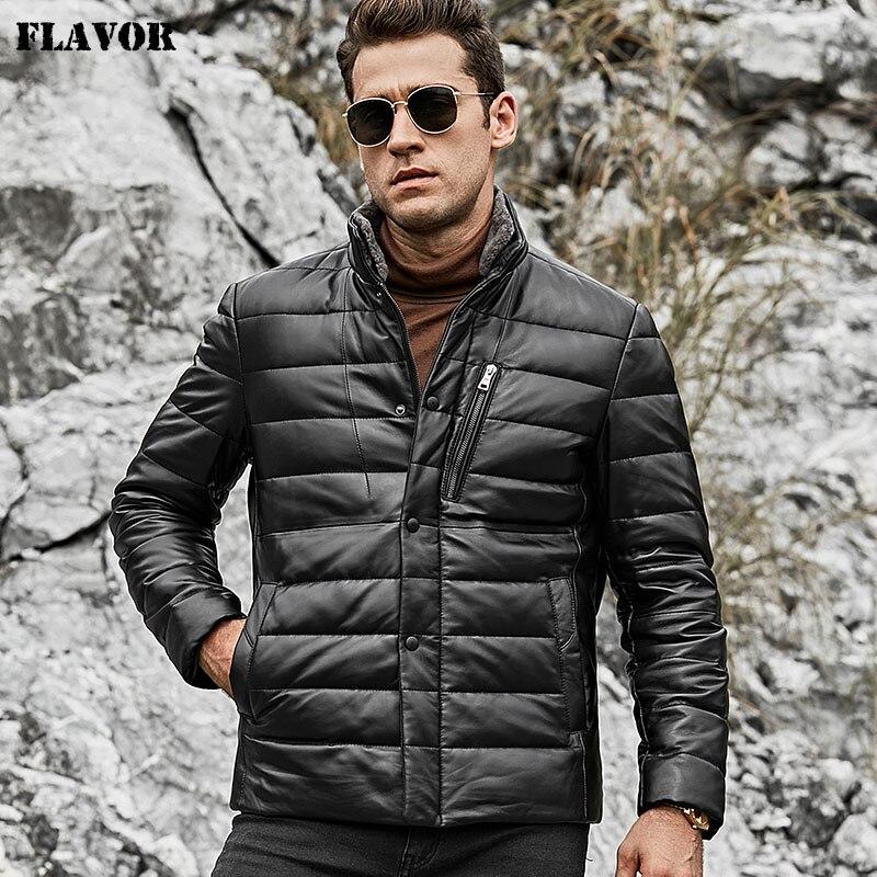 Saveur veste en cuir d'agneau pour hommes veste en cuir véritable pour hommes avec col en fourrure de mouton debout manteau en duvet de canard blanc
