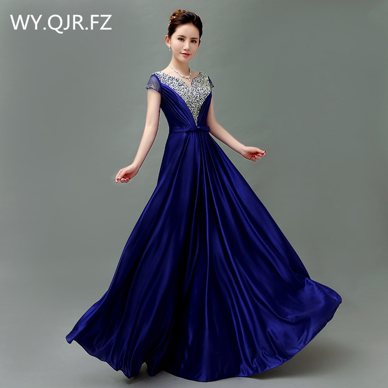 QLY5189L#Blue Wine Red Purple Lace Up Bride' Toast Toastery Hostess's Chorus Costume Long Bridesmaid Dresses Wholesale China