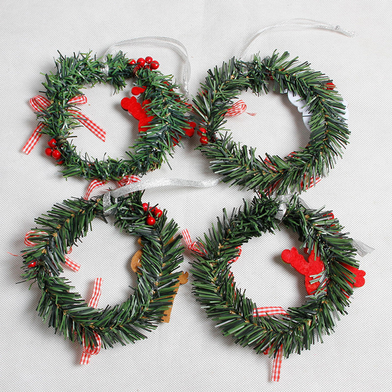 small christmas wreath cartoon with pines merry christmas wreaths mini xmas new year garland nice gift xmas wreath dia 15cm in pendant drop ornaments from - Small Christmas Wreaths