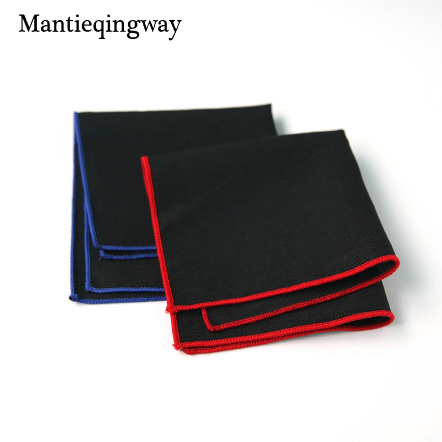 Mantieqingway Cotton Handkerchief For Mens Suits Black Solid Color Pocket Square Pocket Towel For Wedding Party Hanky Hankies