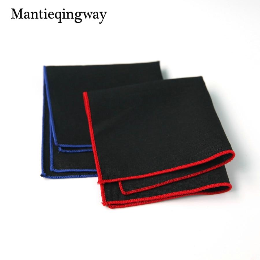 Mantieqingway Cotton Handkerchief For Mens Suits Black Solid Color Pocket Square Pocket Towel For Wedding Party Hanky Hankies
