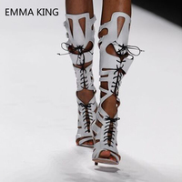 Летние ботильоны со шнуровкой, новые кожаные женские сандалии, сандалии с открытым носком и ремешками с пряжками, женские туфли на высоком к