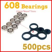 500Pcs 22x6mm Super Fast 608 Ball Bearing For Ceramic Led Light Aluminium Batman Hand Spinner Fidget