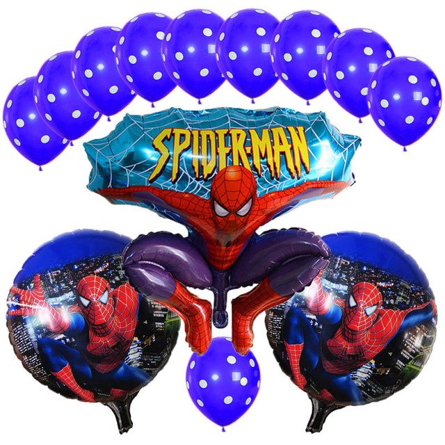 13Pcs Lot Spiderman Balloon Latex Polka Dots Spider Man Party Inflatable Helium Foil Balloons