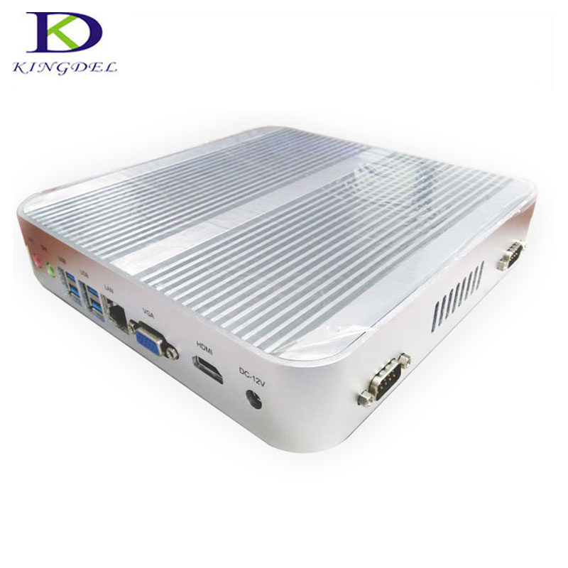 KINGDEL Newest Fanless Mini Computer HTPC Intel I3-5005U 2.0Ghz 8GB RAM MSATA3.0 SSD 2*COM Industrial USB 3.0 1080P
