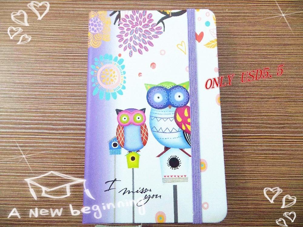Baru kedatangan Lucu Charming Mini Portabel owl hard cover Kertas Diary Notebook sekolah Memo Catatan Buku notepad gratis pengiriman