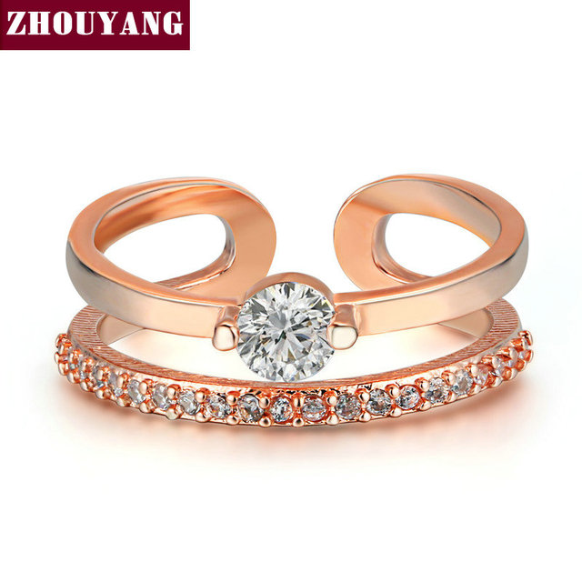 Rose Gold Color Fashion Resizable Wedding & Engagement Ring Cubic Zirconia Jewel