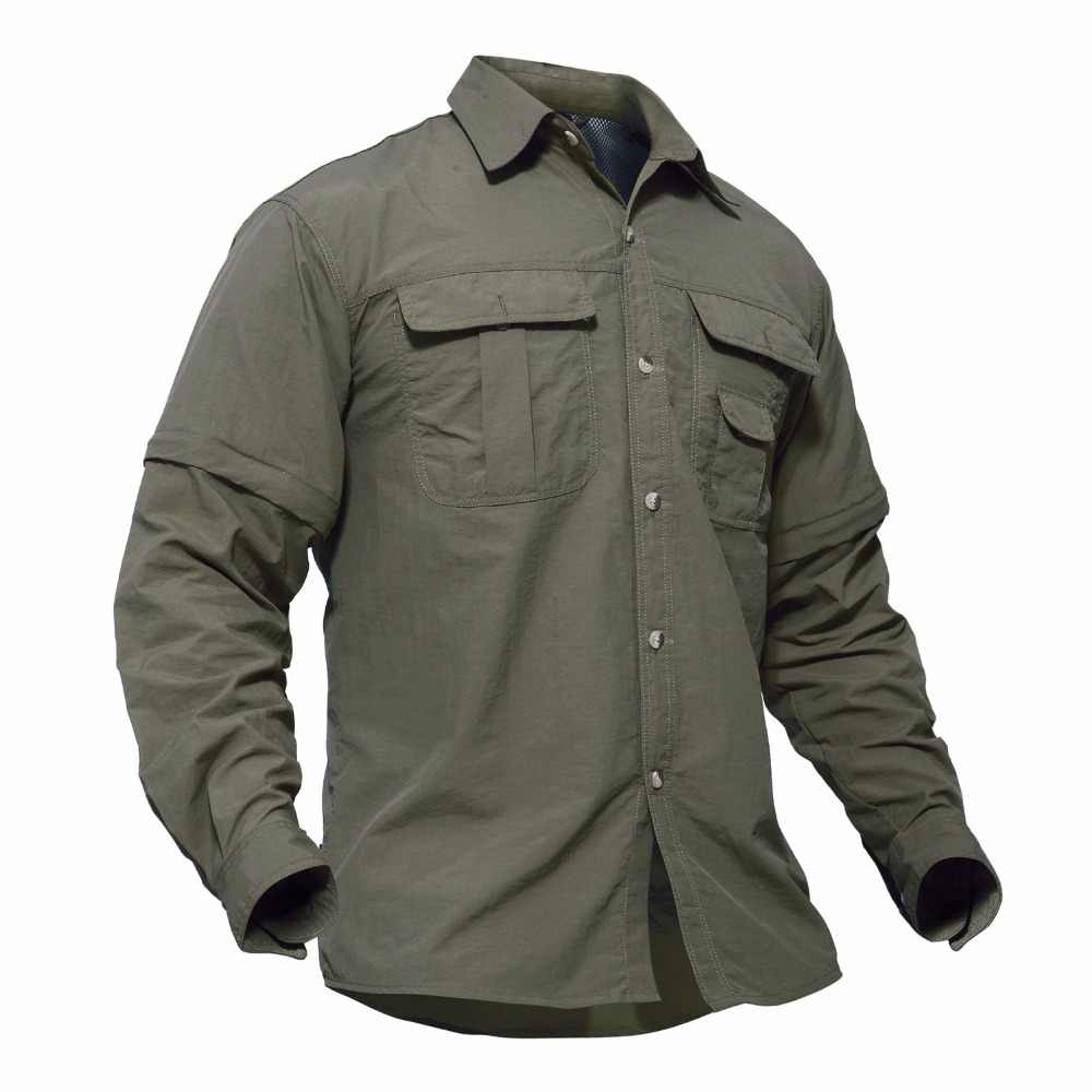 ef804fc55ef4 ... MAGCOMSEN Men Shirt Removable Quick Dry Breathable Tactical Shirt  Summer Travel Military Workout Long Sleeve Shirts ...