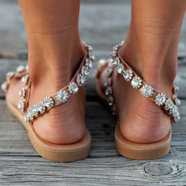 Bling Crystal Flat Sandals 2