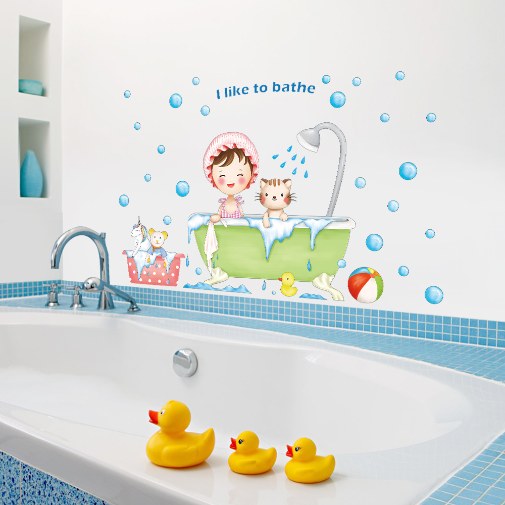 I Like To Bathe Wall Decal Sticker Home Decor DIY Removable Art Vinyl Mural For Kids Room/Sliding Door QT758-4MB ...