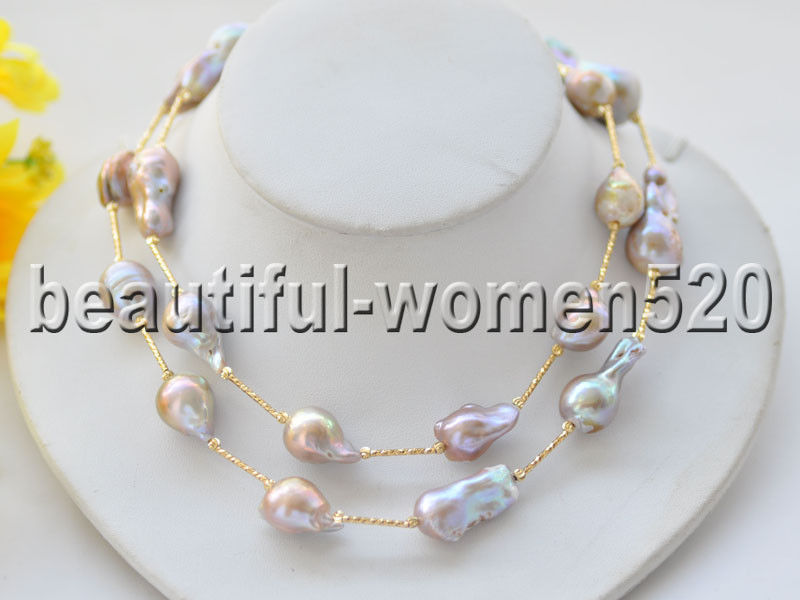 Z9350 30mm Lavender Baroque Keshi Reborn Pearl Necklace 32inch z3519 17 30mm white baroque keshi reborn pearl necklace