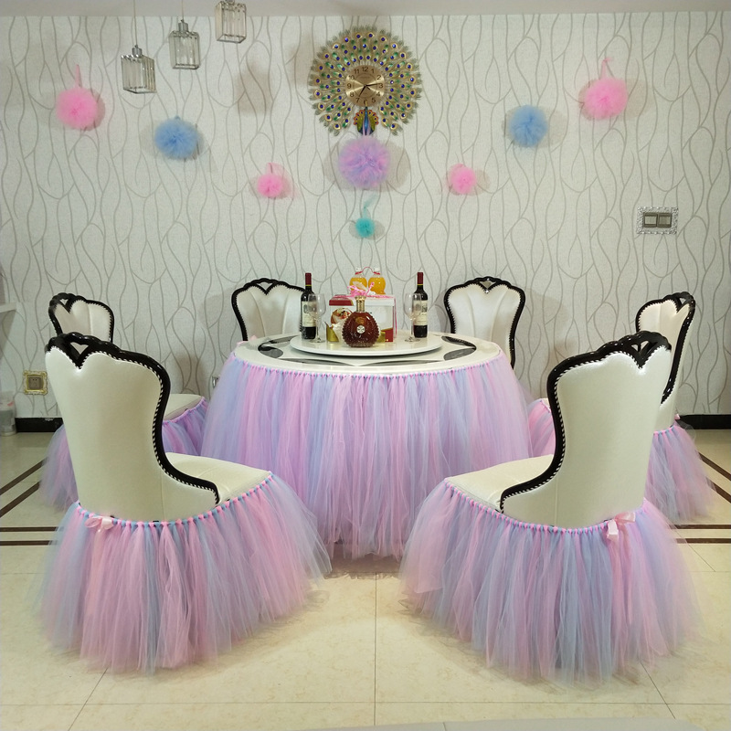 Remarkable Wedding Birthday Party Table Cloth Tutu Skirt For Kids Shower Party Chair Decoration Yarn Tulle Table Chair Tablecloth Tableware Caraccident5 Cool Chair Designs And Ideas Caraccident5Info