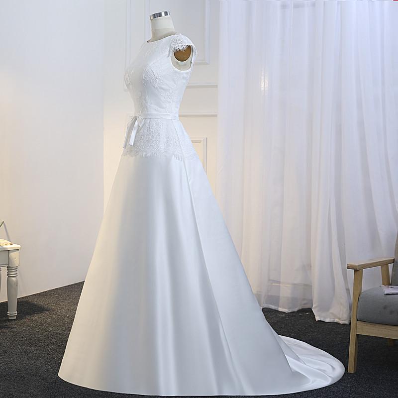 088765bd6d Krótkie rękawy linii satynowe suknie ślubne tania suknia ślubna piętro  długość tanie suknie ślubne Boho sukienka 2019 szaty De Mariage w Krótkie  rękawy ...