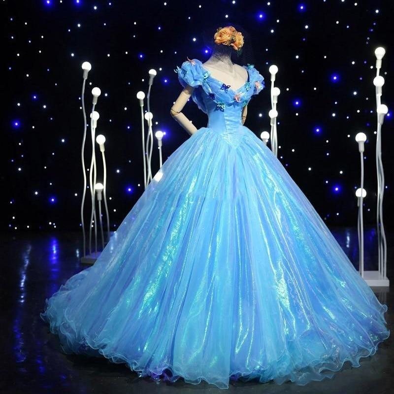 Blue cinderella quinceanera dresses