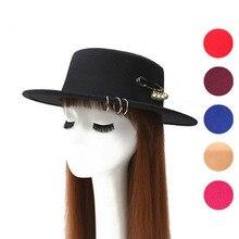 [Ozyc] pin Перл chapeau Femme Винтаж Модный черный топ фетровая шляпа-федора мужчин сомбреро котелок церкви фетровой шляпы для женские