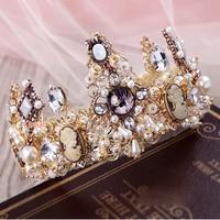 Baroque crown crystal beads tiaras handmade bridal hair accessories wedding crown Queen headband earrings