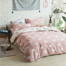 Cute Light Red White Clouds Pattern 4Pcs Bedding Set Queen King Size Duvet Cover Home Bedclothes Sheet  Pillow Case Home Textile