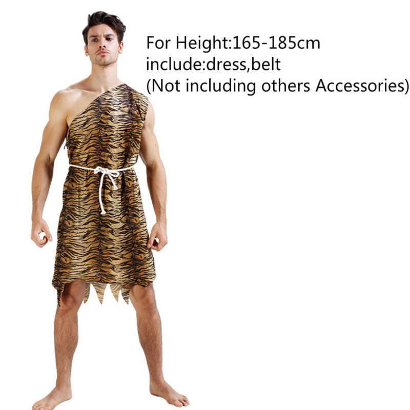 Seksi Leopard Savage Manusia Gua Croods Flintstones Primitif India Pakaian Karnaval Halloween Kostum untuk Pria Wanita Mewah