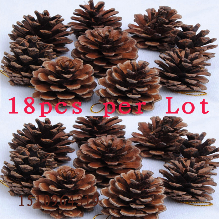 Buy 1lot 18pc wooden christmas for Pine cone tree decorations