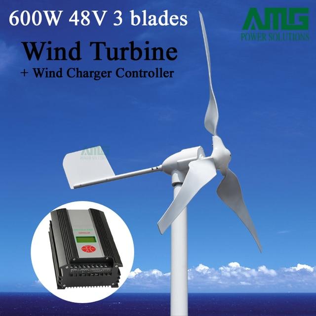 66e9085289e 600 W 48 V 3 lâminas Pequeno Horizontal Aerogerador Turbina Eólica + Vento  Inteligente Híbrido Solar