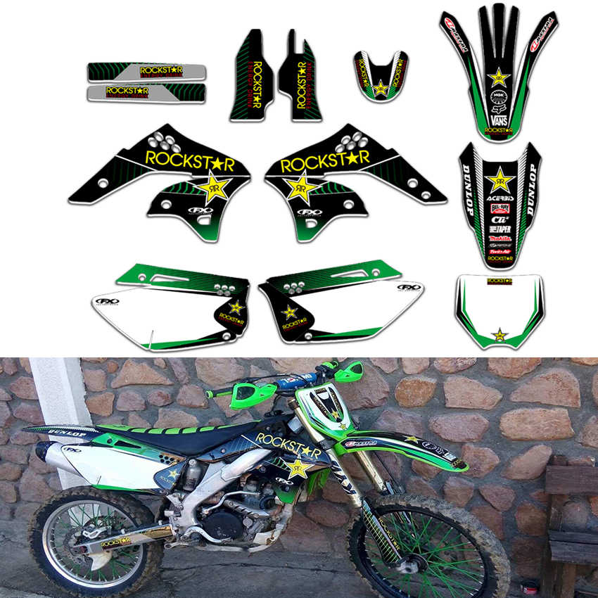 TEAM Rockstar GRAPHICS & BACKGROUNDS DECALS STICKERS Kits For Kawasaki  KX250F KXF250 KX 250F KXF 250 2006 2007 2008