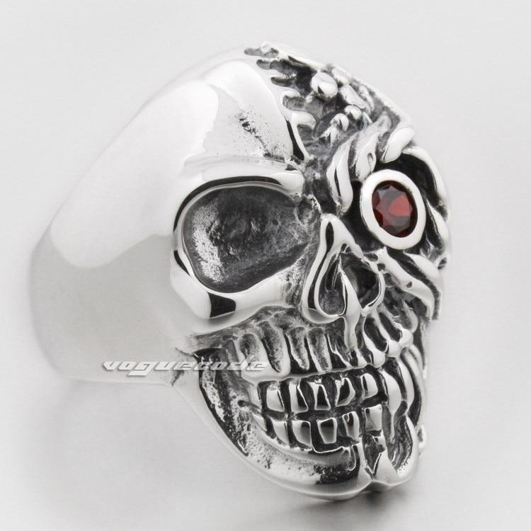 Red Eye Skull 925 Sterling Silver Mens Biker Ring 8S006 grovana traditional 1191 1528