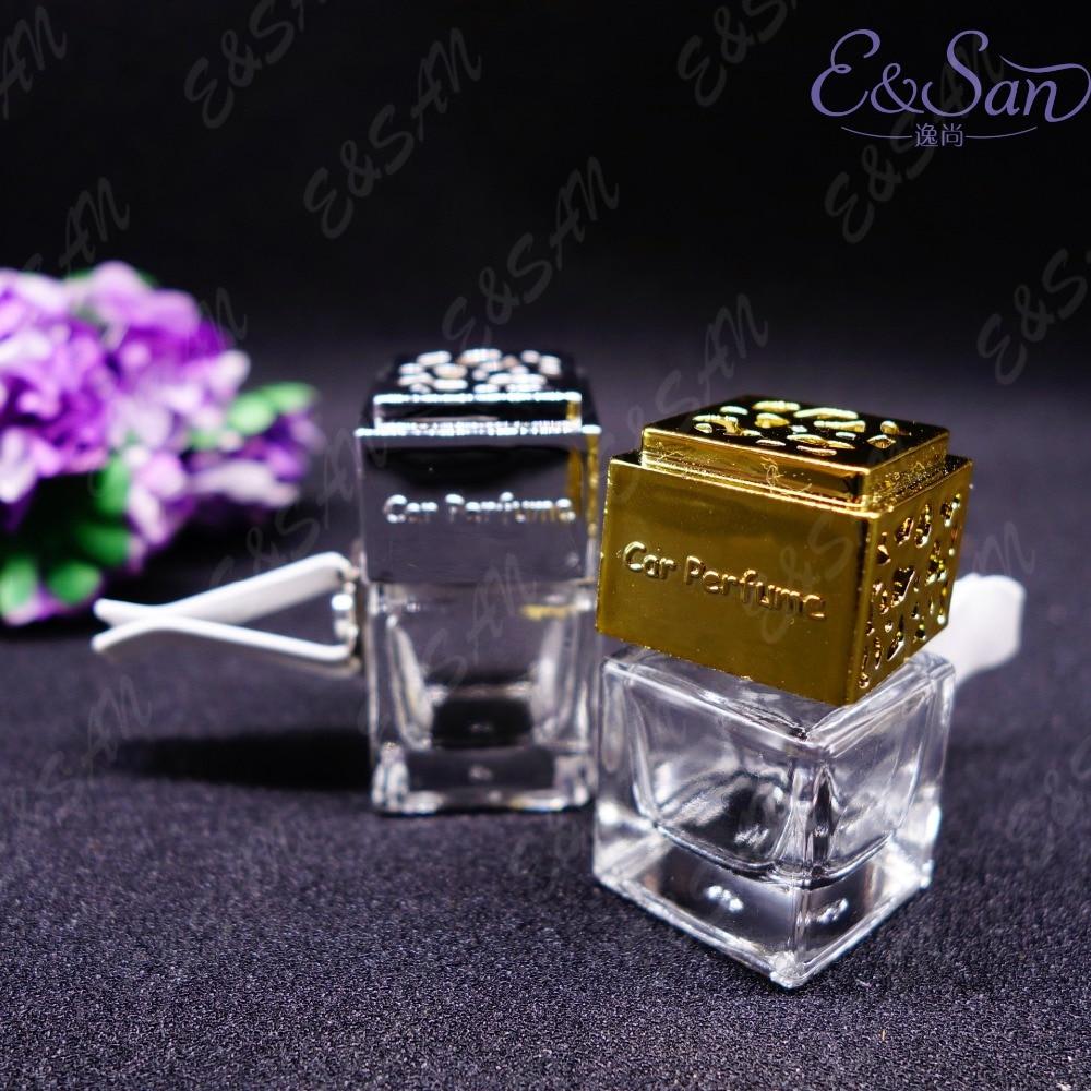 100PCS LOT FMSK014 6ML Square Car Vents Transparent Glass Perfume Spray Packaging Cosmetics Empty Bottle