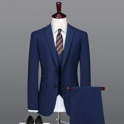 (Jacket+Pants+vest+tie)3 Pieces New Collection Dark Blue Formal Groom Tuxedos Wedding Suits Men Groomsman Suits Business Dress